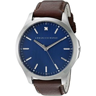 Armani Exchange Men's AX2181 'Smart' Crystal Brown Leather Watch