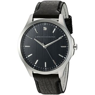 Armani Exchange Men's AX2182 'Smart' Crystal Black Leather Watch