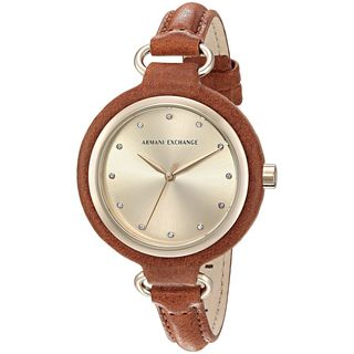 Armani Exchange Women's AX4236 'Smart' Crystal Brown Leather Watch