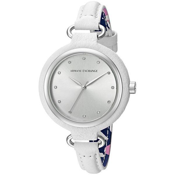 Armani Exchange Women's 'Smart' Crystal White Leather Watch
