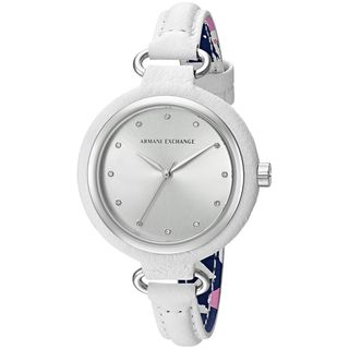 Armani Exchange Women's AX4237 'Smart' Crystal White Leather Watch