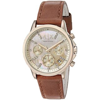 Armani Exchange Women's AX4334 'Active' Chronograph Crystal Brown Leather Watch