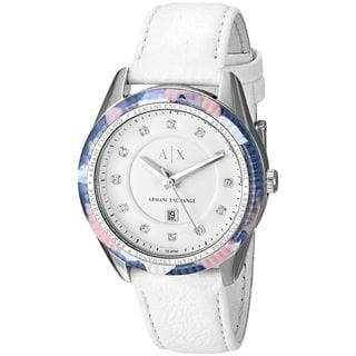 Armani Exchange Women's AX5437 'Active' Crystal White Leather Watch
