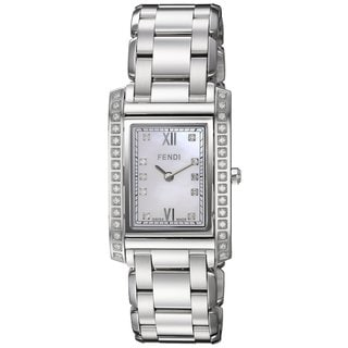 Fendi Women's F775340DDC 'Loop Rectangle' Mother of Pearl Diamond Dial Stainless Steel Swiss Quartz Watch