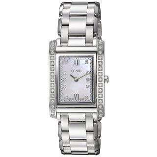 Fendi Women's F775340DDC 'Loop Rectangle' Mother of Pearl Diamond Dial Stainless Steel Swiss Quartz Watch