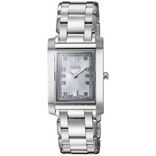 Fendi Women's F775340D 'Loop Rectangle' Mother of Pearl Diamond Dial Stainless Steel Swiss Quartz Watch