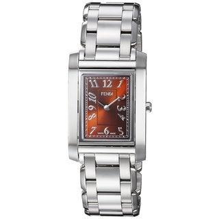 Fendi Women's F775320 'Loop Rectangle' Brown Dial Stainless Steel Swiss Quartz Watch