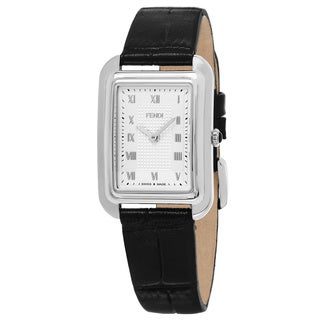 Fendi Women's F700036011 'Classico Rectangle' Silver Dial Black Leather Strap Small Swiss Quartz Watch