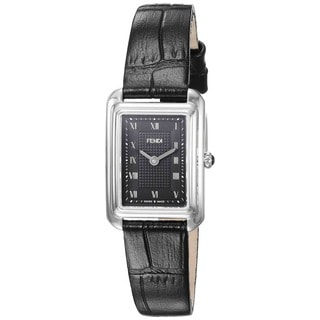 Fendi Women's F700021011 'Classico Rectangle' Black Dial Black Leather Strap X-Small Swiss Quartz Watch