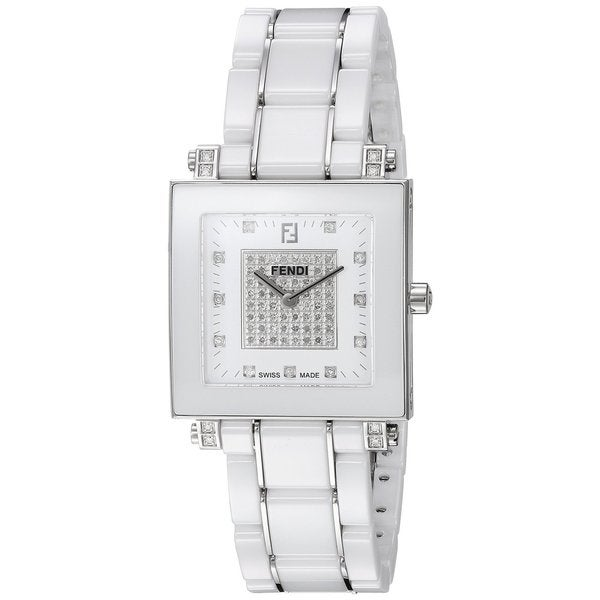 Fendi Women's F626140DPDC 'Ceramic' White Diamond Dial White Ceramic Bracelet Swiss Quartz Watch