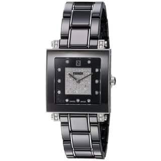 Fendi Women's F625110DPDC 'Ceramic' Black Diamond Dial Black Ceramic Swiss Quartz Watch https://ak1.ostkcdn.com/images/products/11964778/P18849586.jpg?impolicy=medium