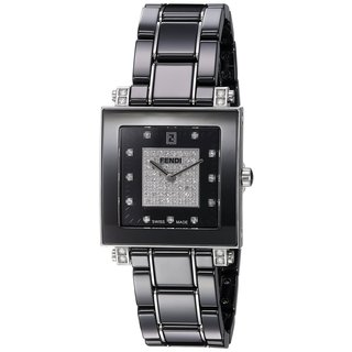 Fendi Women's F625110DPDC 'Ceramic' Black Diamond Dial Black Ceramic Swiss Quartz Watch