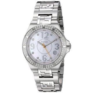 Fendi Women's F467340DDC 'High Speed' Mother of Pearl Diamond Dial Stainless Steel Swiss Quartz Watch