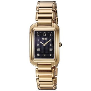 Fendi Women's F701431000 'Classico Rectangle' Black Dial Goldtone Stainless Steel Small Swiss Quartz Watch