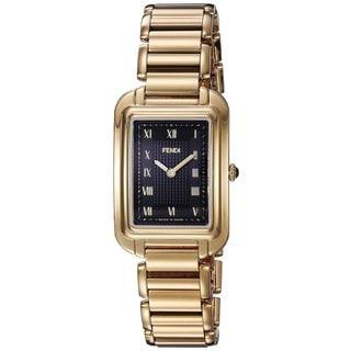 Fendi Women's F701431000 'Classico Rectangle' Black Dial Goldtone Stainless Steel Small Swiss Quartz Watch