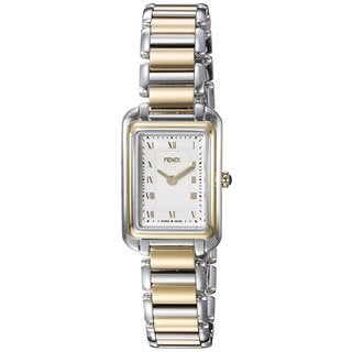 Fendi Women's F701124000 'Classico Rectangle' White Dial Two Tone Stainless Steel X-Small Swiss Quartz Watch