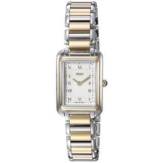 Fendi Women's F701124000 'Classico Rectangle' White Dial Two Tone Stainless Steel X-Small Swiss Quartz Watch|https://ak1.ostkcdn.com/images/products/11964787/P18849579.jpg?impolicy=medium