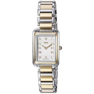 Fendi Women's F701124000 'Classico Rectangle' White Dial Two Tone Stainless Steel X-Small Swiss Quartz Watch