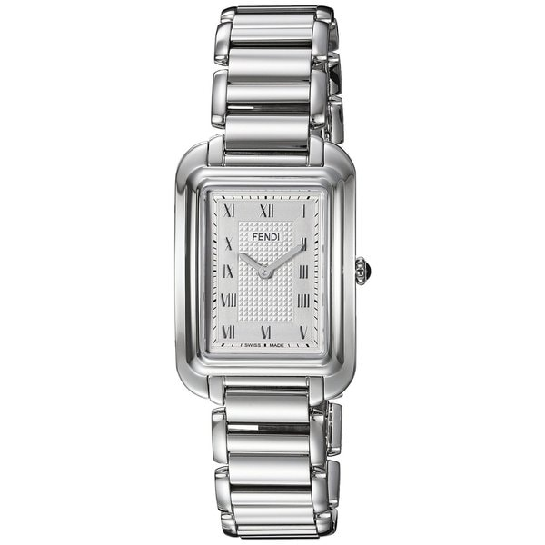 60847d532567 Shop Fendi Women s  Classico Rectangle  Silver Dial Stainless Steel Small  Swiss Quartz Watch - Free Shipping Today - Overstock - 11964789