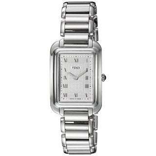 Fendi Women's F701036000 'Classico Rectangle' Silver Dial Stainless Steel Small Swiss Quartz Watch