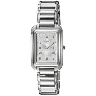 Fendi Women's F701036000 'Classico Rectangle' Silver Dial Stainless Steel Small Swiss Quartz Watch|https://ak1.ostkcdn.com/images/products/11964789/P18849581.jpg?impolicy=medium