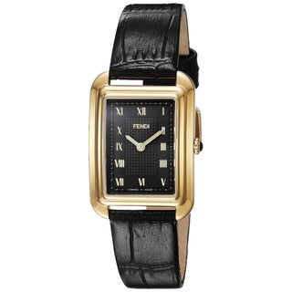 Fendi Women's F700431011 'Classico Rectangle' Black Dial Black Leather Strap Small Swiss Quartz Watch