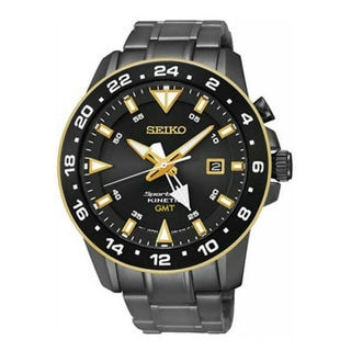 Seiko Men's SUN026P1 Sportura Kinetic GMT Black Watch