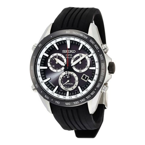Seiko Men's SSE015 'Astron GPS Solar' Chronograph Black Silicone Watch
