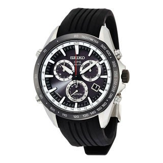 Link to Seiko Men's SSE015 'Astron GPS Solar' Chronograph Black Silicone Watch Similar Items in Men's Watches