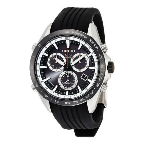 Seiko Men's SSE015 'Astron GPS Solar' Chronograph Black Silicone Watch