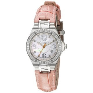 Fendi Women's F414247DDC 'High Speed' Mother of Pearl Diamond Dial Pink Leather Strap Small Swiss Quartz Watch