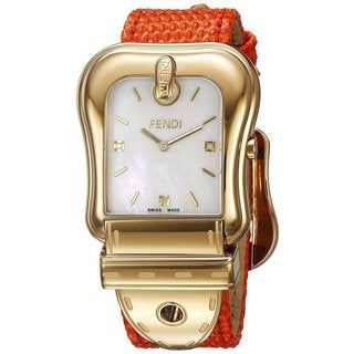 Fendi Women's F382414591D1 'B. Fendi' Mother of Pearl Dial Orange Leather Strap Swiss Quartz Watch