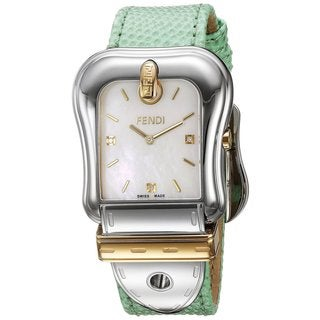 Fendi Women's F382114581D1 'B. Fendi' Mother of Pearl Dial Mint Green Leather Strap Swiss Quartz Watch