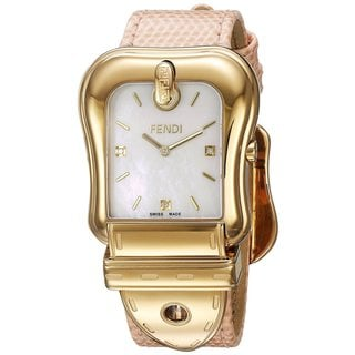 Fendi Women's F382414571D1 'B. Fendi' Mother of Pearl Dial Pink Leather Strap Swiss Automatic Watch