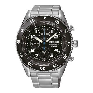 Seiko Men's SNDG57P1 Chronograph Black Watch