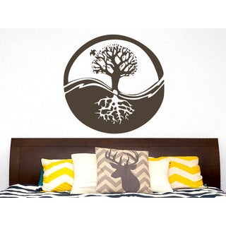 Tree Roots Nature Symbol Yoga Yin Yang Wall Art Sticker Decal Brown