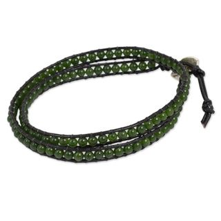 Handmade Leather Silver 'Hill Tribe Green' Quartz Bracelet (Thailand)