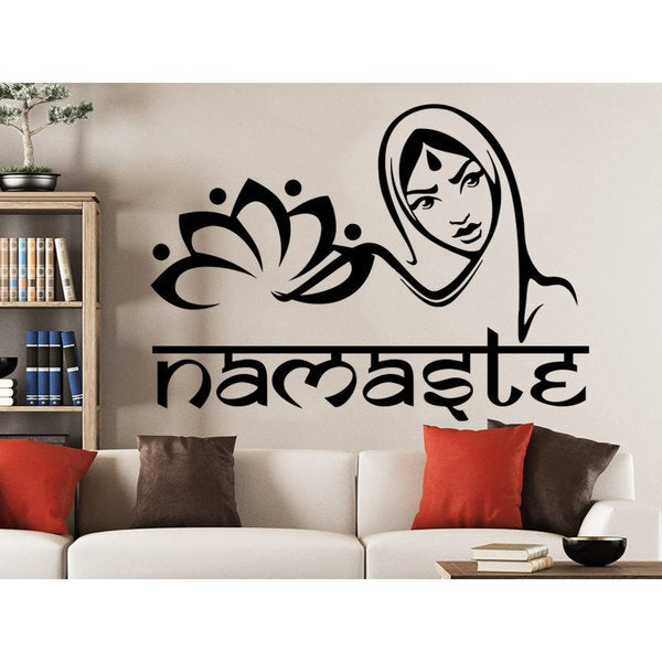 Girl Mandala Namaste Flower Wall Art Sticker Decal
