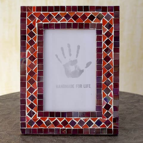 Handmade Lilac Coral Glass Mosaic Photo Frame (India)