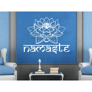 Flower Yoga Buddha Home Wall Art Sticker Decal White