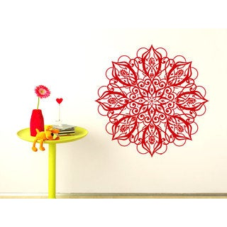 Graphic Mandala Wall Art Sticker Decal Red