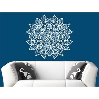 Flower Mandala Wall Art Sticker Decal White