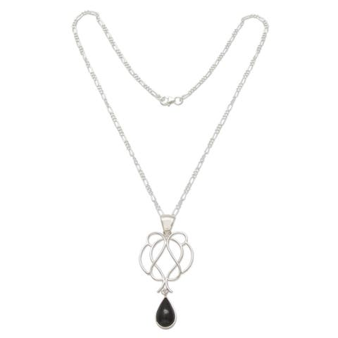 Handmade Sterling Silver 'Midnight Tear' Obsidian Necklace (Peru)