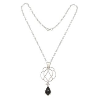 Handcrafted Sterling Silver 'Midnight Tear' Obsidian Necklace (Peru)