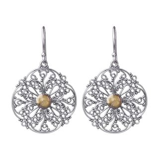 Sterling Silver Gold Overlay 'Filigree Sun' Earrings (Indonesia)