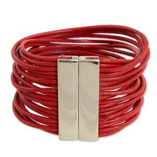 Handmade Leather 'Red Brazilian Glam' Bracelet (Brazil)