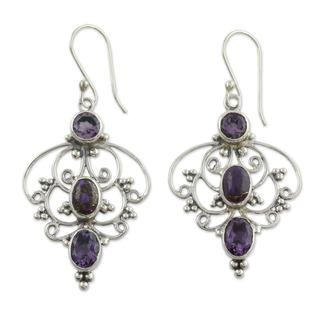 Sterling Silver 'Purple Arabesque' Amethyst Turquoise Earrings (India)