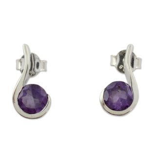 Handcrafted Sterling Silver 'Grape Droplet' Amethyst Earrings (India)