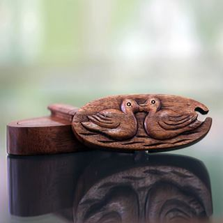 Handcrafted Suar Wood 'Duckling Romance' Puzzle Box (Indonesia)