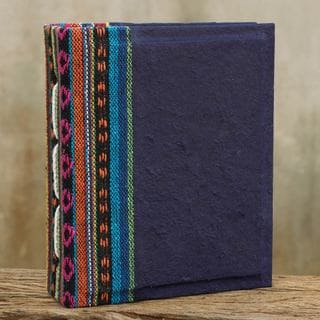 Handmade Saa Paper 'Blue Dragon' Photo Album (Thailand)